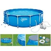 Каркасный бассейн SummerEscapes P20-1548-S + песочный фильтр, лестница, тент, подстилка, набор для чистки, скиммер (457х122см)