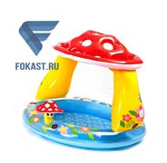 Детский надувной бассейн грибок с надувным дном 102х89см, 1-3 года. INTEX 57114