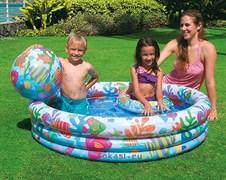 Надувной детский бассейн аквариум с мячом и кругом 132х28 см, от 3 лет. INTEX 59469