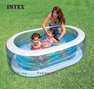 Надувной бассейн овал прозоачный 163х107х46 см, от 3-х лет. INTEX 57482