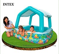 Бассейн прямоугольный с навесом аквариум 157х157х122 см, от 3-х лет. INTEX 57470