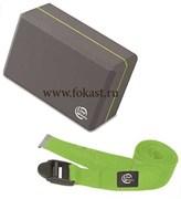 Набор для йоги и пилатеса 5490LW (блок, ремешок), салатовый/серый