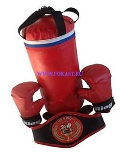 Набор боксерский ЧЕМПИОН (мешок 40см,перчатки, лапы, пояс чемпиона) - фото 11627