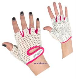 Перчатки для фитнеса SU-110, белые/розовые - фото 11654
