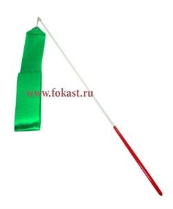 Лента для художественной гимнастики AGR-201 4м, с палочкой 46 см, зеленая. - фото 11795