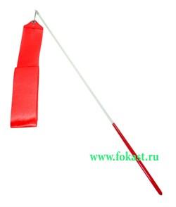 Лента для художественной гимнастики AGR-201 4м, с палочкой 46 см, красная. - фото 11797