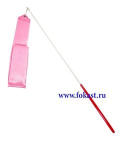 Лента для художественной гимнастики AGR-201 4м, с палочкой 46 см, розовый. - фото 11800