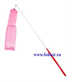 Лента для художественной гимнастики AGR-201 6м, с палочкой 56 см,, розовая - фото 12026