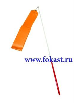 Лента для художественной гимнастики AGR-201 6м, с палочкой 56 см, оранжевая. - фото 12159
