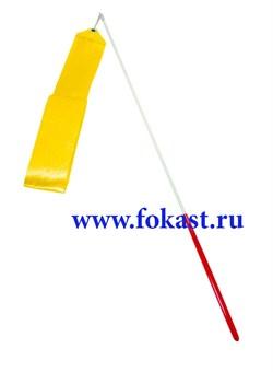 Лента для художественной гимнастики AGR-201 6м, с палочкой 56 см, желтая - фото 12161