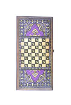Нарды средние, с деревянными шашками, цветной рисунок - фото 12658