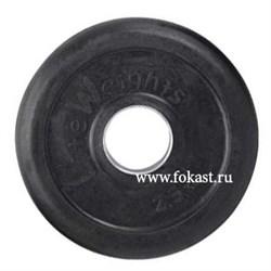 Диск обрезиненный черный d-51mm 2,5кг с мет. втулкой RJ1050 - фото 13969