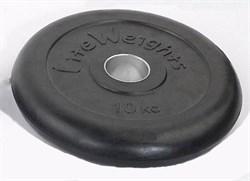 Диск обрезиненный черный d-51mm 10кг с мет. втулкой RJ1050  - фото 13971