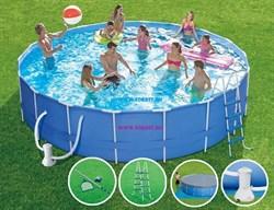 Каркасный бассейн SummerEscapes P20-1848-B +фильт насос, лестница, тент, подстилка, набор для чистки, скиммер (549х122см) - фото 13986