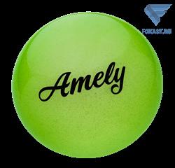 Мяч для художественной гимнастики AGB-102, 15 см, зеленый, с блестками - фото 15990