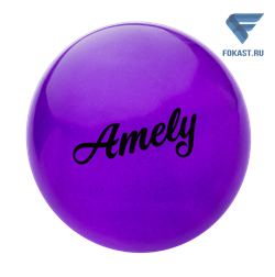 Мяч для художественной гимнастики AGB-101, 15 см, фиолетовый, с блестками - фото 15992