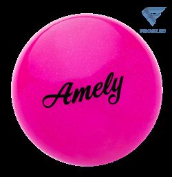 Мяч для художественной гимнастики AGB-102, 15 см, розовый, с блестками - фото 15993