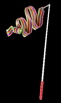 Лента для художественной гимнастики AGR-201 6м, с палочкой 56 см, радуга - фото 16387