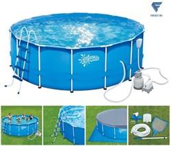Каркасный бассейн SummerEscapes P20-1552-S (457х132см)+песочный фильт насос, лестница, тент, подстилка, набор для чистки DELUXE, скиммер  - фото 16548