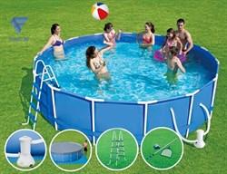 Каркасный бассейн SummerEscapes P20-1652-B +фильт насос, лестница, тент, подстилка, набор для чистки, скиммер (488х132см) - фото 16549
