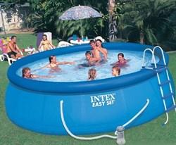 Надувной бассейн для дачи Intex 26168 (457х122см) + фильтр-насос 220 В, лест., настил, тент. - фото 16783