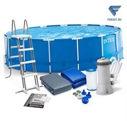 Круглый каркасный бассейн Intex 28242 + фильтр-насос, лестница, тент, подстилка (457х122) - фото 17243