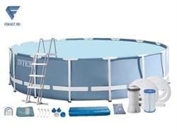 Каркасный бассейн Intex 26726 + фильтр-насос, лестница, тент, подстилка. - фото 17793