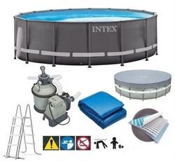 Каркасный бассейн Intex 26330 + песочный фильтр насос, лестница, тент, подстилка. - фото 17794