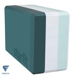 Блок для йоги YB-201 EVA, 22,8х15,2х10 см, 350 гр, изумрудная радуга - фото 18198