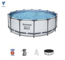 Бассейн каркасный BestWay Steel Pro MAX 56438 фильтр-насос, лестница, тент, подстилка 457х122см - фото 19852
