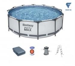Каркасный бассейн BestWay Steel Pro MAX 56420Б + фильт насос, лестница, тент, (366х122) - фото 19913