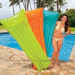 Надувной матрас неоновый с подоголовником 183х76 см, 3 цвета. INTEX 59717 - фото 4490