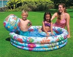 Надувной детский бассейн аквариум с мячом и кругом 132х28 см, от 3 лет. INTEX 59469 - фото 4506