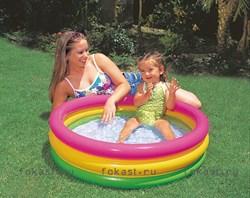 Детский надувной бассейн с надувным дном 114х25 см, от 3 лет. INTEX 57412 - фото 4509