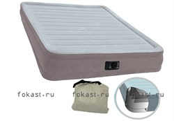 Надувная кровать INTEX 67766 Comfort-Plush со встр. насосом 220В (99х191х33) - фото 4810