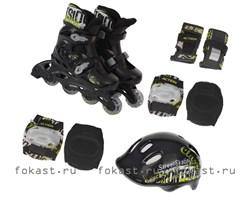 Набор: коньки ролик, защита, шлем р.35-38 PW-120B - фото 5321
