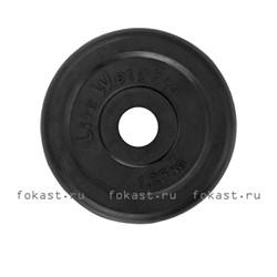 Диск (блин) 1,25 кг для штанги d-50mm обрезиненный черный Lite Weights RJ1034 - фото 6673