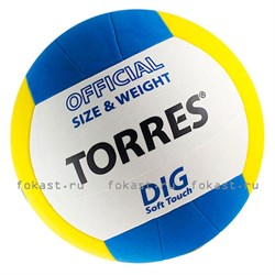 Мяч волейбольный TORRES Dig V20145, р.5, синт.кожа - фото 6821