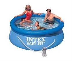 Надувной бассейн Intex 28112-H с верхним кольцом + фильтр-насос (244х76см) - фото 7026