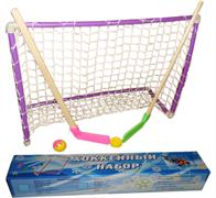 Хоккейный набор (2 клюшки детск. + шайба + мячик + ворота с сеткой) в коробке. 05-21