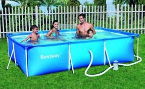 Прямоугольный каркасный бассейн 300х201х66 + фильтр-насос Bestway 56411