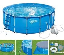 Каркасный бассейн Summer Escapes P20-1452-S + песочный фильтр, лестница, тент, подстилка, скиммер, набор для чистки (427х132см)