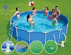 Каркасный бассейн SummerEscapes P20-1652-B +фильт насос, лестница, тент, подстилка, набор для чистки, скиммер (488х132см)