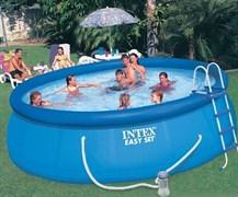 Надувной бассейн для дачи Intex 26168 (457х122см) + фильтр-насос 220 В, лест., настил, тент.