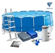 Круглый каркасный бассейн Intex 28242 + фильтр-насос, лестница, тент, подстилка (457х122)