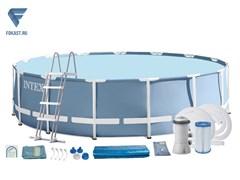 Каркасный бассейн Intex 26726 + фильтр-насос, лестница, тент, подстилка.