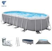 Овальный каркасный бассейн Intex 26798 + фильтр-насос, лестница, тент, настил.