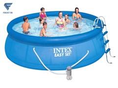Надувной бассейн Intex 26166 +лест. настил. тент (457х107см).
