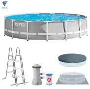 Каркасный бассейн Intex 26724 + фильтр-насос, лестница, тент, подстилка