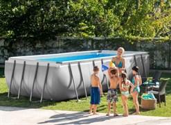 Каркасный бассейн Intex 26356 Ultra XTR Rectangular Frame, песочный насос, лестница, тент, подстилка 549х274х132см